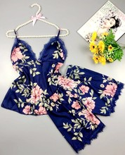 Spaghetti Strap  Printing Lace Sexy Women Pajamas V-Neck With Pad Female Summer Pajama Set Fashion Sleepwear