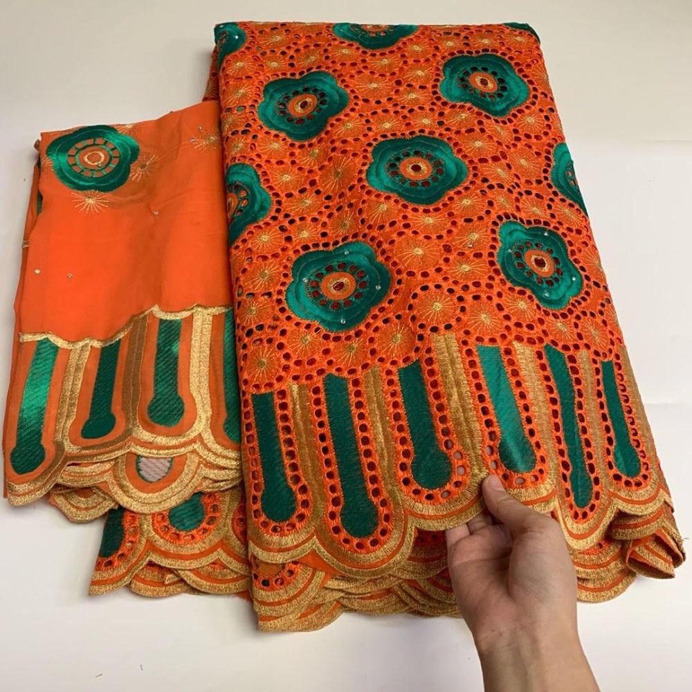 Fleurs roses tissu bleu bazin riche getzners autriche brodé tulle tissus africain nigérian couture matériaux 5 + 2 yards/