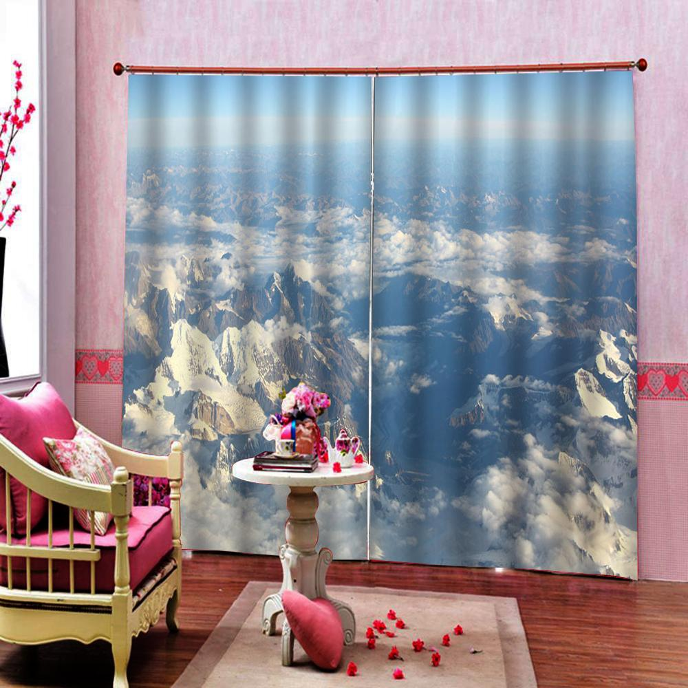 3D Шторы плотные тени окна Шторы s снег Горный пейзаж Шторы s для Гостиная 3D Ванная комната Душ Шторы - 3