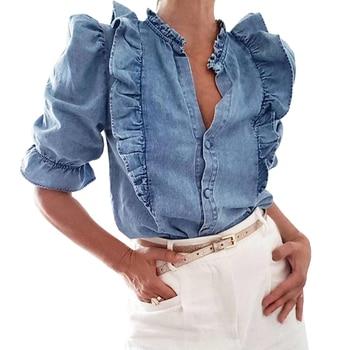 LASPERAL High Street Cascading Ruffles Puff Sleeve Denim Blouse Women Blusas Mujer De Moda 2020 Shirt Womens Tops And Blouses 10