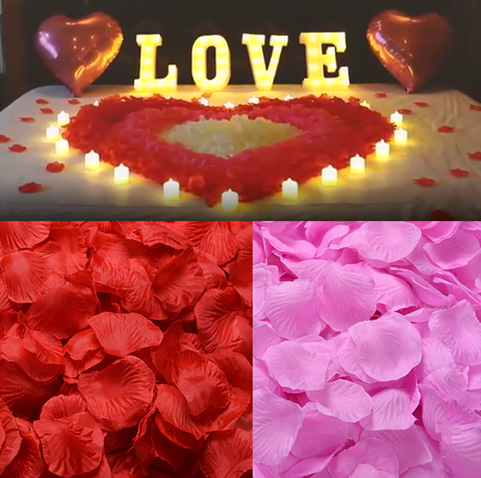 100PCS Rose Flower Petals DIY Artificial Flowers for Wedding Birthday Party Table Decor Romantic Valentine's Day fake flowers