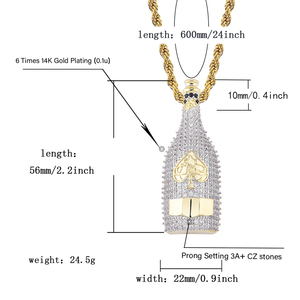 Image 5 - TOPGRILLZ Big Wine Bottle Necklaces Full Cubic Zircon Iced Out Pendants Hip Hop Men Women Gold Color Vogue Jewelry For Rocker