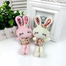 Stuffed Toy Small Plush Pendant Of Long Feet Prints Loving Heart Rabbit Toys Doll Key Chain Hanging Random Color