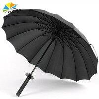 Atualmente Disponível Atacado 16 Osso Guarda chuva Espada Samurai Guarda chuva Criativo dos homens Longo shang wu san Guarda chuva de Publicidade Cust -