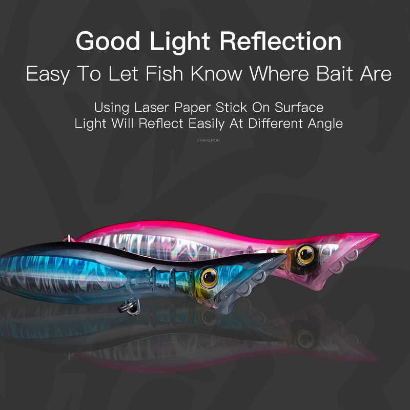Reino SNAKEPOP flotante hundimiento popper pesca señuelos 95mm 115mm 135mm Hard stick cebos luz reflejo wobblers para lubina