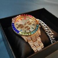 Uhr Set Mit Box Armband Männer Luxus Marke Männer Kalender Rose Gold Bunte Armbanduhr Quarz Uhr Diamant Stahl Uhr 2021