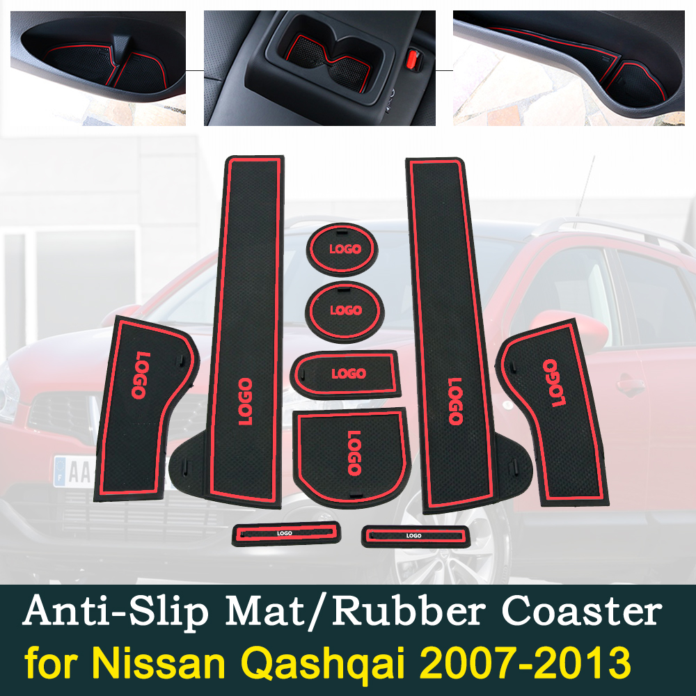 Anti-slip Car Door Rubber Cup Cushion Gate Slot Pad for Nissan Qashqai J10 2007 2013 Mat Accessories 2008 2009 2010 2011 2012
