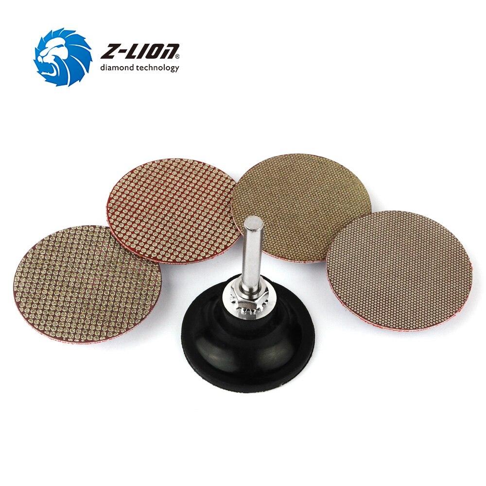 "Z LION 2"" Roloc Diamond Polishing Pad With Roll Lock Back Holder Wet Use Granite Marble Gemstone Sanding Disc Polishing Pads     - title="