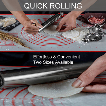 New Rolling Pin Dough Roller Stainless Steel for Cookies Cake Biscuit Pastry Tarts Pasta Noodle Dumpling Dough