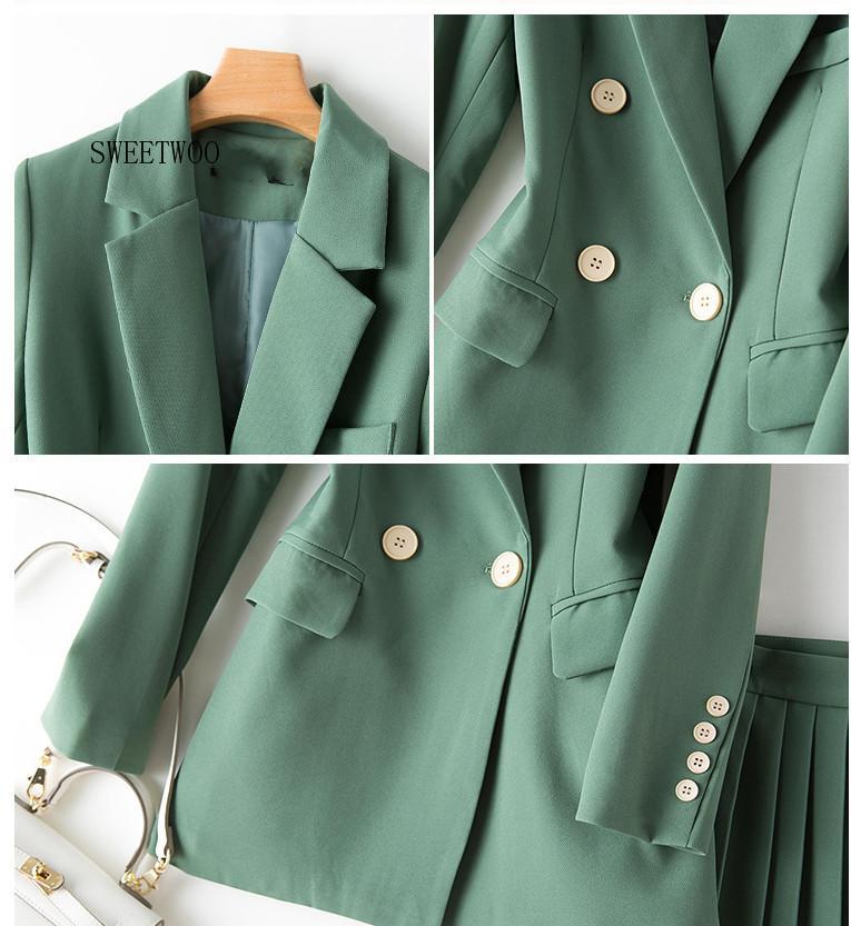 Women's Sets Single Button Solid Blazer High Waist Pleated Skirt Two Piece Set Fashion Women 2 Piece Skirt Sets