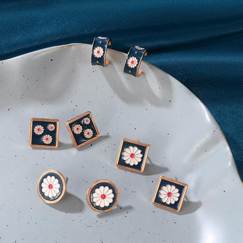 POXAM New Korean Statement Drop Earrings For Women Fashion Flower Geometric Metal Dangle Earrings 2020 Vintage Wedding Jewelry