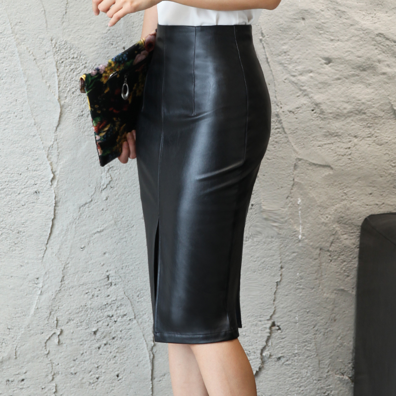 Aachoae Black PU Leather Skirt Women 2020 New Midi Sexy High Waist Bodycon Split Skirt Office Pencil Skirt Knee Length Plus Size 2
