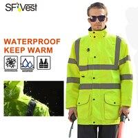 SFVest High Visibility Reflective Waterproof Rain Warm Jacket Rainwear Coat