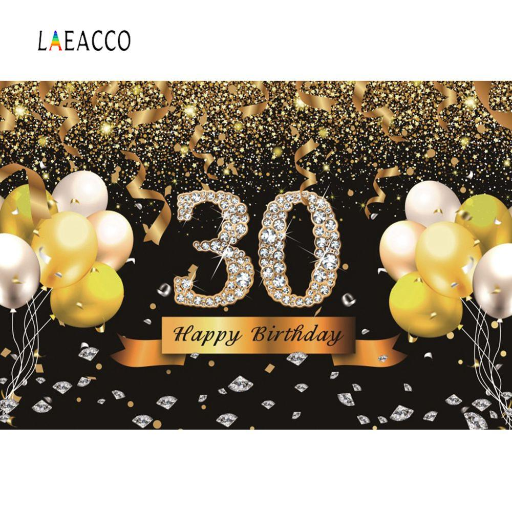 Laeacco Golden Balloons Birthday <font><b>30</b></font> 40 <font><b>50</b></font> 60th Birthday Party Celebration Poster Portrait Photo Background Photography Backdrops image