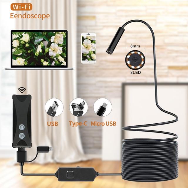 Wireless WIFI Endoscope Camera Waterproof Inspection Mini Camera 8mm 1/2/3/5M USB Endoscope Borescope For Iphone Android PC IOS