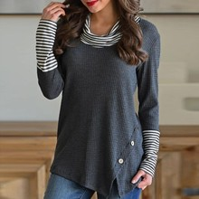 Blouse 2019Top Hot  Fashion Womens Splice Stripe Button Long Sleeve Cowl Neck Knit Lady Pullover For Clothes Tops