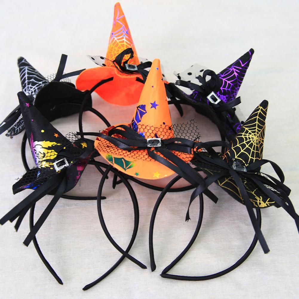 Women Cute Halloween Lace Bowknot Pointy Witch Hat Hair Hoop Headband Headwear  Wonderful Hair Accessory For Halloween Party