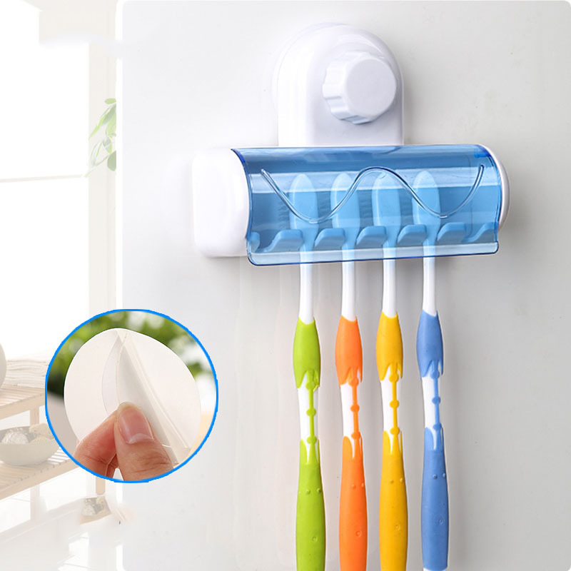 Bathroom Accessories Set Toothbrush Holder Wall Mount Stand Tooth brush Holder Hooks Suction Cup Bathroom Tools Toothbrush Rack image