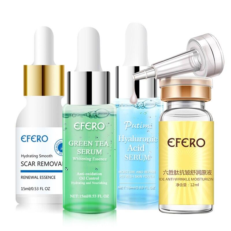 Hyaluronic Acid Anti Aging Face Serum Moisturizing Whitening Shrink Pores Skin Care Green Tea Essence Face Serum Acne Treatment