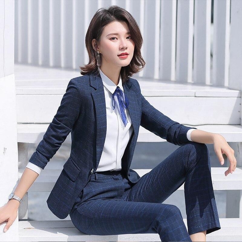 Blue Plaid 2020 New Style Versitile Fashion Ol Sexy Formal Wear Elegant Business Business Elegant Goddess-Style Yan876
