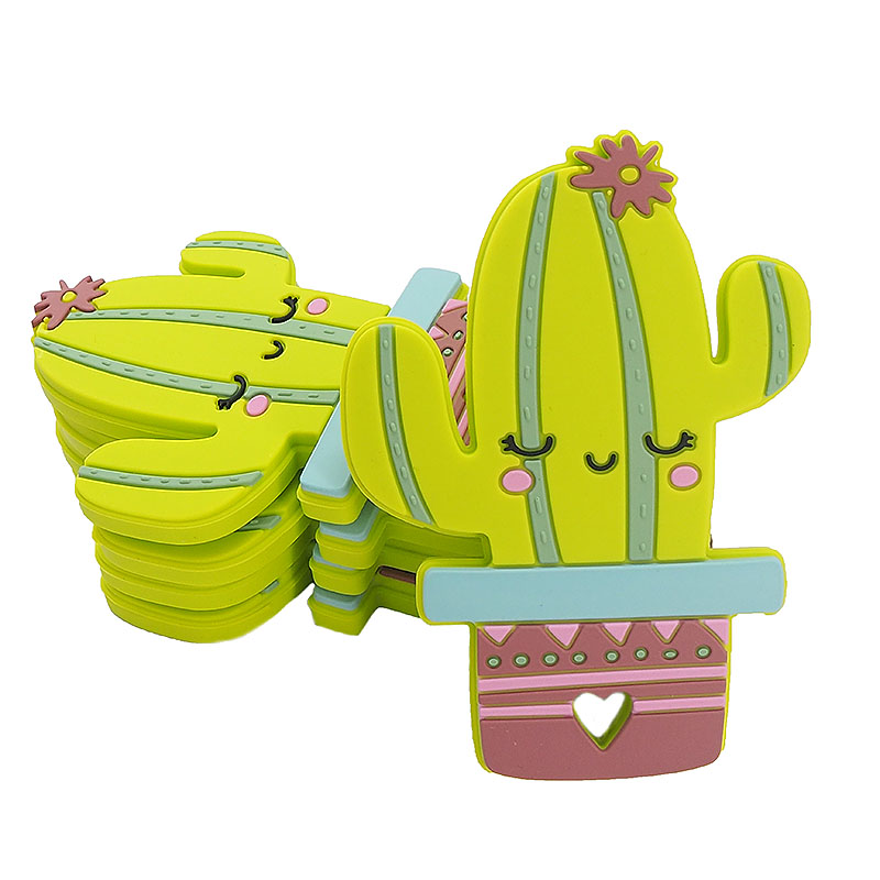 Chenkai 5PCS Cactus Shaped Silicone Teether Baby Sensory Pendant Food Grade For DIY Infant Lovely Nursing Shower Pacifier Gifts