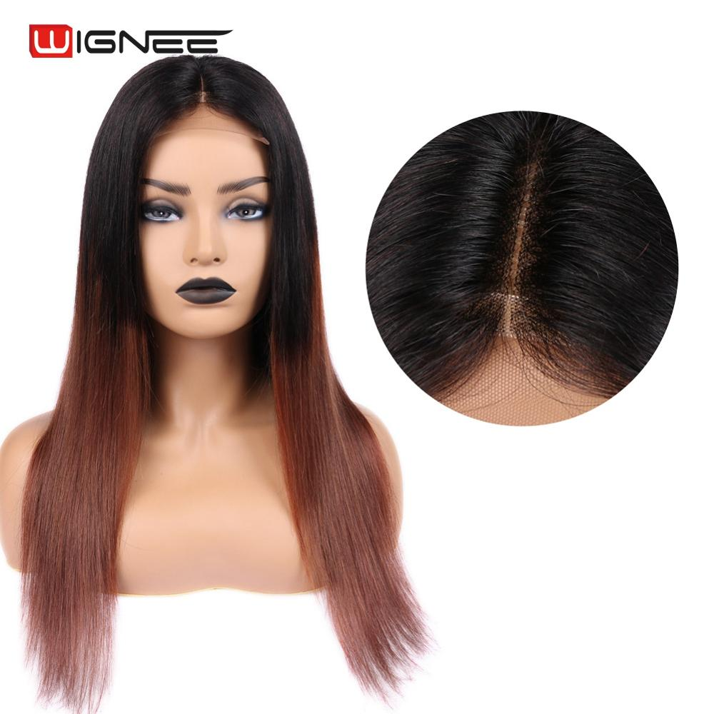 Wignee 4*4 Lace Closure Human Hair Wigs For Black/White Women Straight Hair Ombre Brown 1B 33 Remy Brazilian 100% Lace Human Wig
