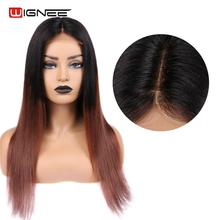 Wignee 4*4 Lace Closure Human Hair Wigs For Black/White Women Straight Hair Ombre Brown 1B 33 Remy Brazilian 100% Lace Human Wig 4 baisi 100% 1b