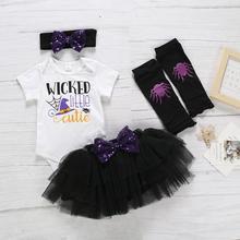 2019 New Arrival Newborn Baby Kids Girls Halloween Print Romper Tops Solid Tutu Skirt Hair band  socks Set Outfits bebes