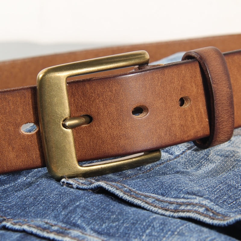 Vintage Luxury Handmade Leather Copper Buckle Man's Belt Cowhide Retro All-match Casual Jeans Soft Belt
