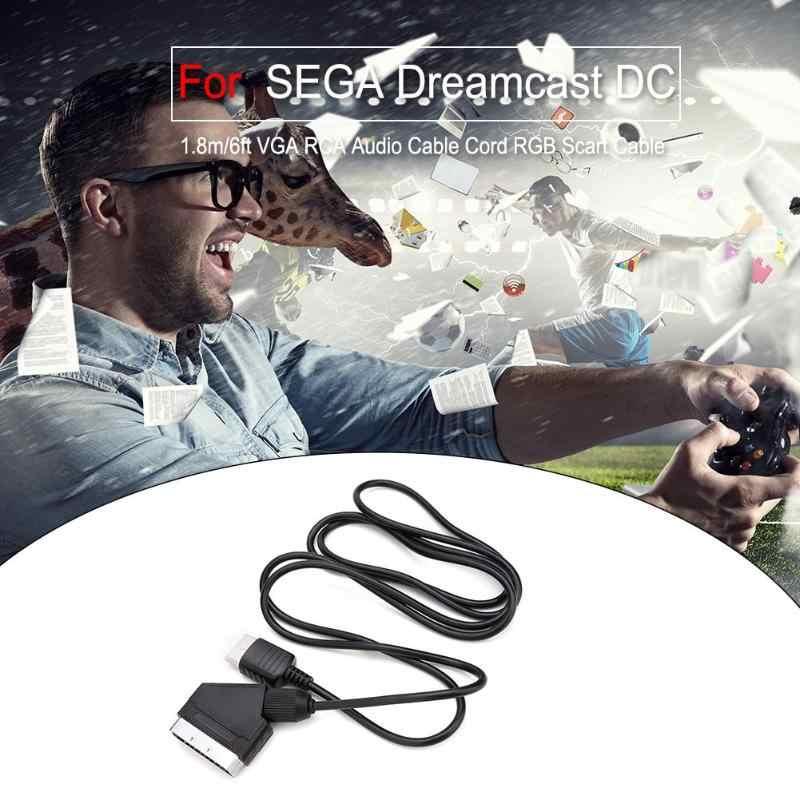 1.8 متر/6ft VGA كابل الصوت من النوع rca الحبل RGB سكارت كابل ل SEGA Dreamcast تيار مستمر