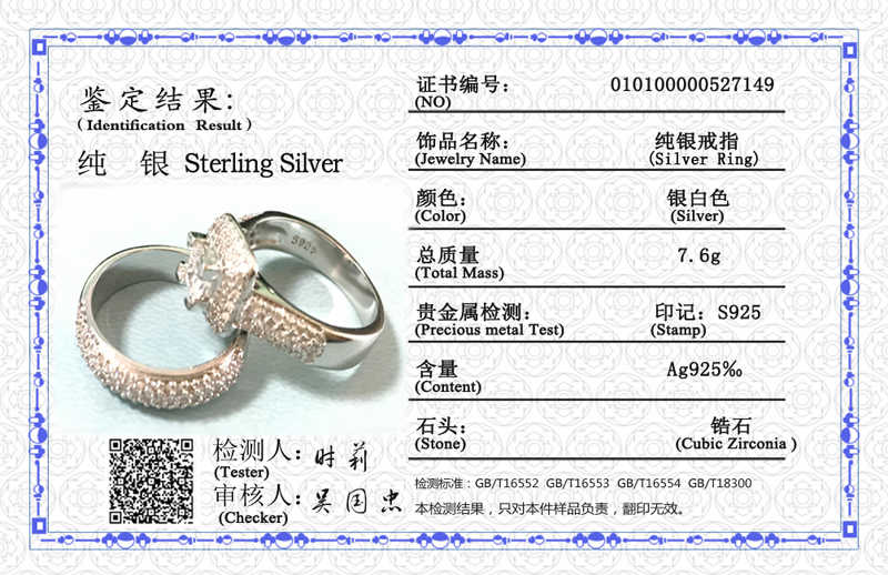 Z certyfikatem luksusowe prawdziwe 925 srebrne wesele obrączka zestaw wkładka 5A cyrkonia para para pierścionki Fine Jewelry dla kobiet