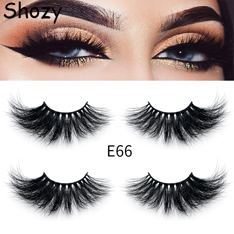 Shozy 25MM Handmade Real Mink Eyelashes 3D Mink Lashes Full Strip False Eyelashes For Makeup-E58