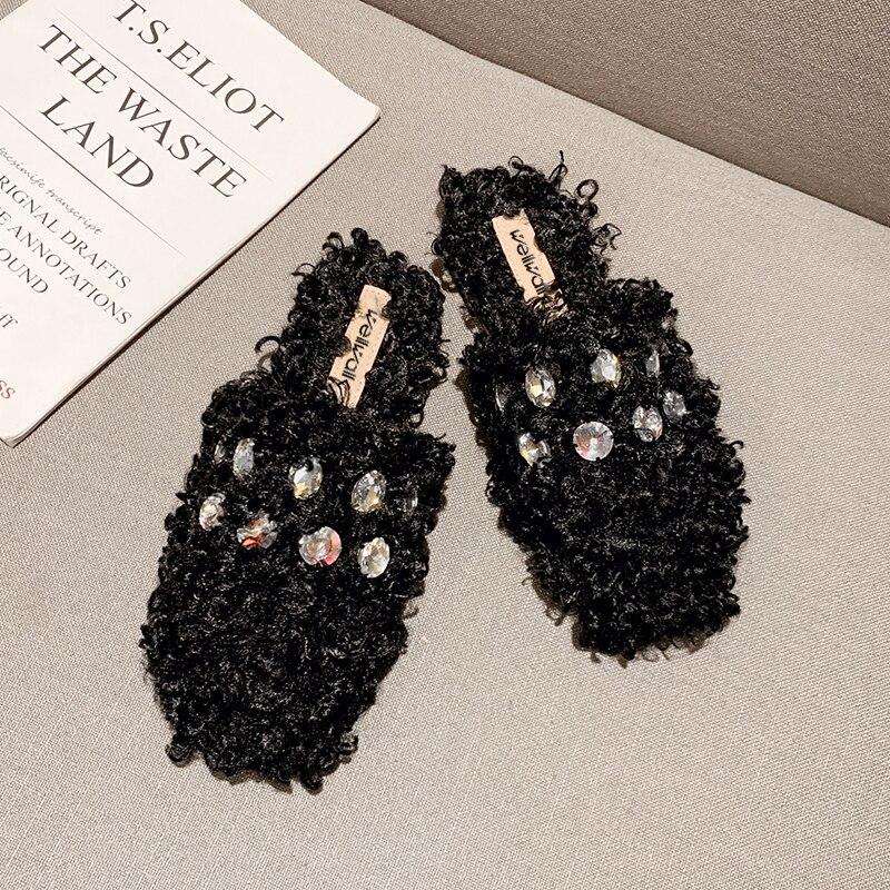 Fur Shoes Women Home Slippers Unicorn Rhinestone Slip On Luxury Brand Mules Female Winter Flats Slides Plush Fashion Style