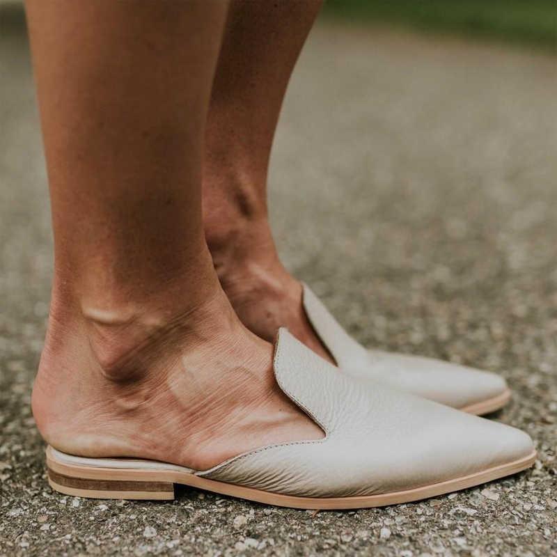 Dihope mulher de couro chinelos de salto baixo moda mule sapatos dedo do pé apontado slides retalhos sandálias senhoras zapatos mujer 2020