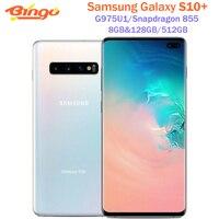 Samsung Galaxy S10 + S10 más G975U1 128GB/512GB G975U desbloqueado teléfono móvil Snapdragon 855 Octa Core 6,4