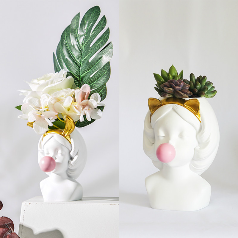 Bubble Gum Girl Flower Vase - Home & Garden