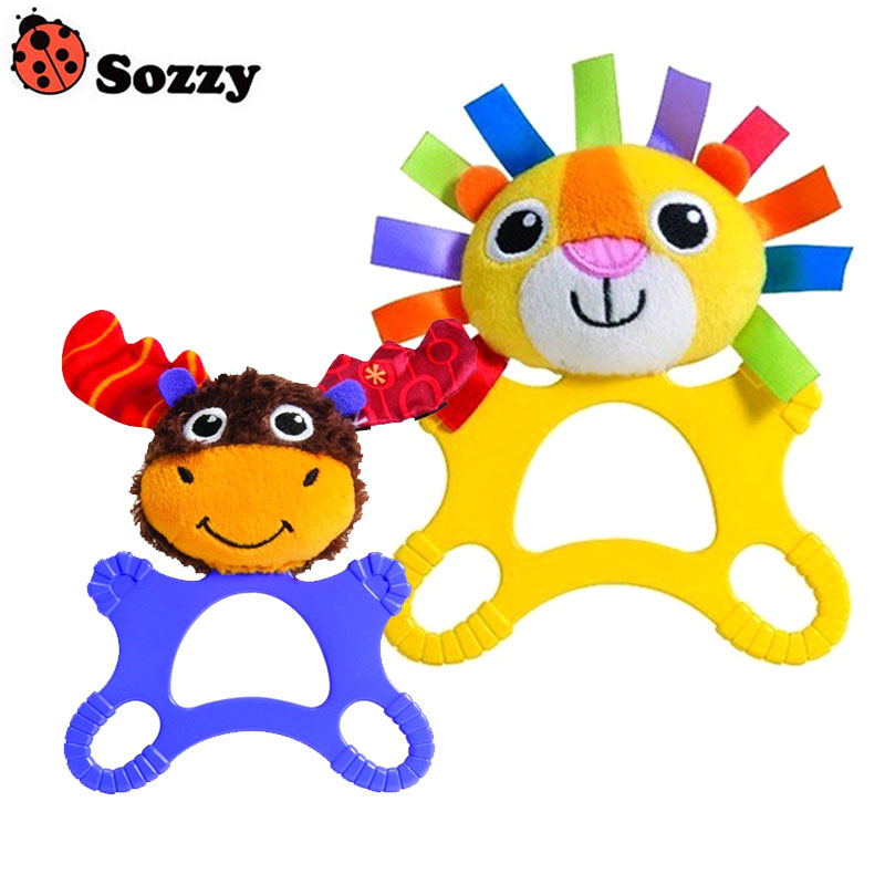 Sozzy Children Toys Extra Large Teether Rattles Ring Bell Cartoon Lion Reindeer Dolls Infant Newborn Baby Plush Toy Gift Hot Sal