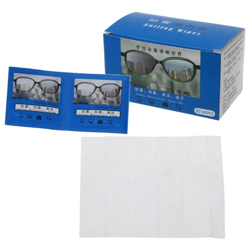 Салфетки для протирания очков, одноразовые влажные салфетки для защиты линз от запотевания, индивидуальная упаковка, 50 шт.