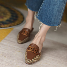 Plaid Cloth Women Shoes Fashion Mules Slippers Spring/Autumn Point Toe Thick Heels Sandals Handmade Shoes Woman Metal Decoration