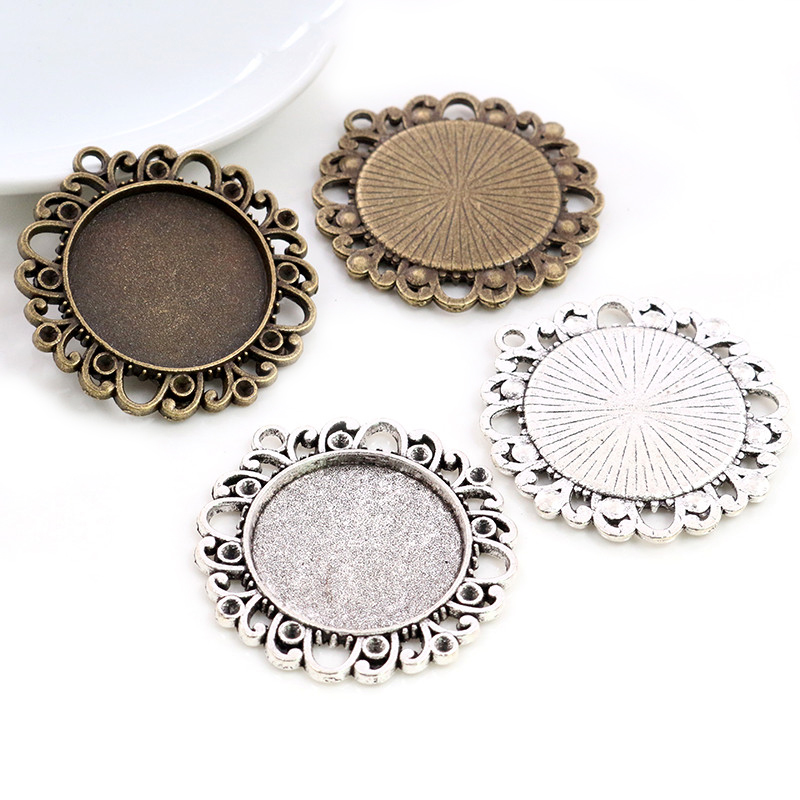 New Fashion 5pcs 25mm Inner Size Antique Silver Plated Bronze Vintage Style Cabochon Base Setting Charms Pendant