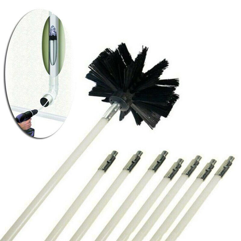 Drill Powered Chimney Cleaning Flue Brush Cleaner Fireplace Sweep Rotary Set Use