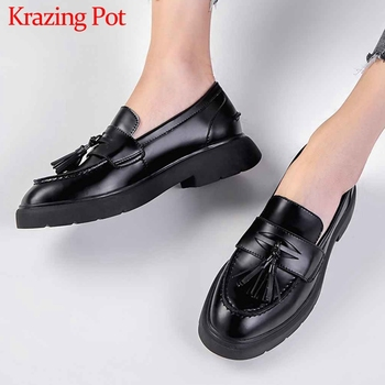 Krazing Pot classic genuine leather fashion fringe loafers shoes slip on round toe med heels women brand basic simple pumps L2f2