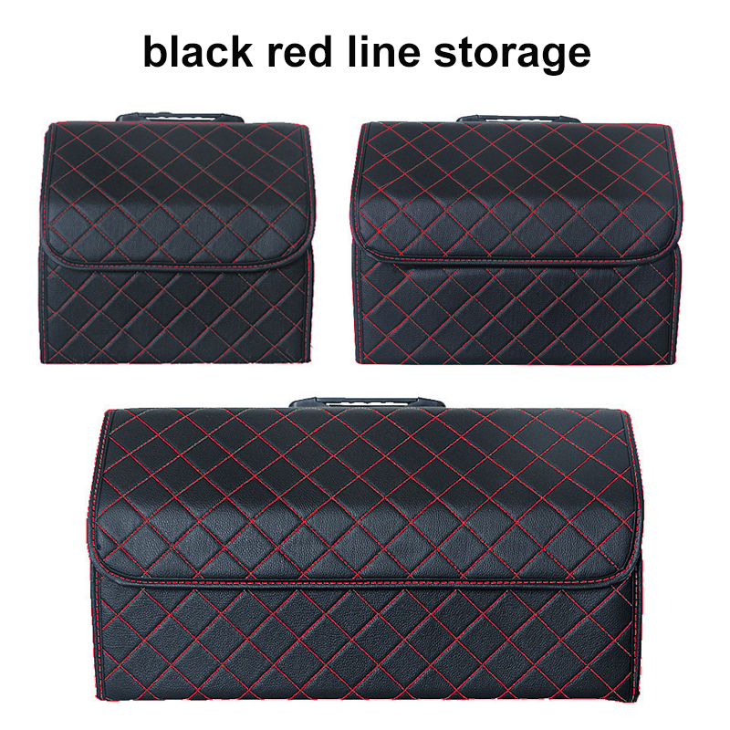 Image 4 - Car Storage Bag PU Leather Trunk Organizer Box Storage Bag Folding Folding Car Trunk Stowing Tidying For Car SUVStowing Tidying   -