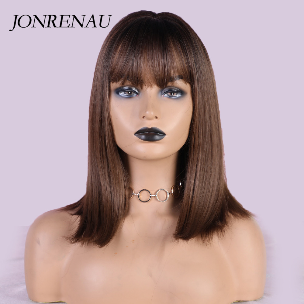 JONRENAU 5 Colors Short Straight  Brown Wigs With Bangs Synthetic Cute Bob Wigs For White/Black Women Party Cosplay