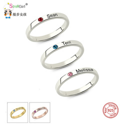 Spersonalizowane wieżowych grawerowane nazwa pierścionki z Birthstone potrójny pierścionek do noszenia warstwowego 925 Sterling Silver biżuteria na zamówienie