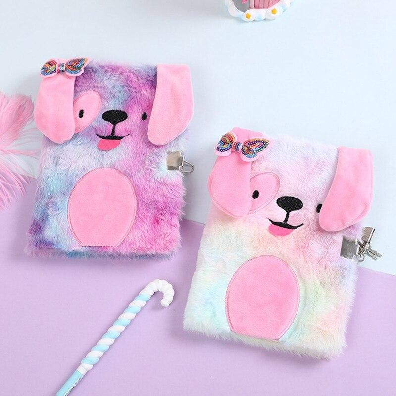Bonito bonito dos desenhos animados cães de pelúcia livro de notas com bloqueio criativo pessoal segredo bloco de notas presente das crianças adorável rosa presente da menina diário