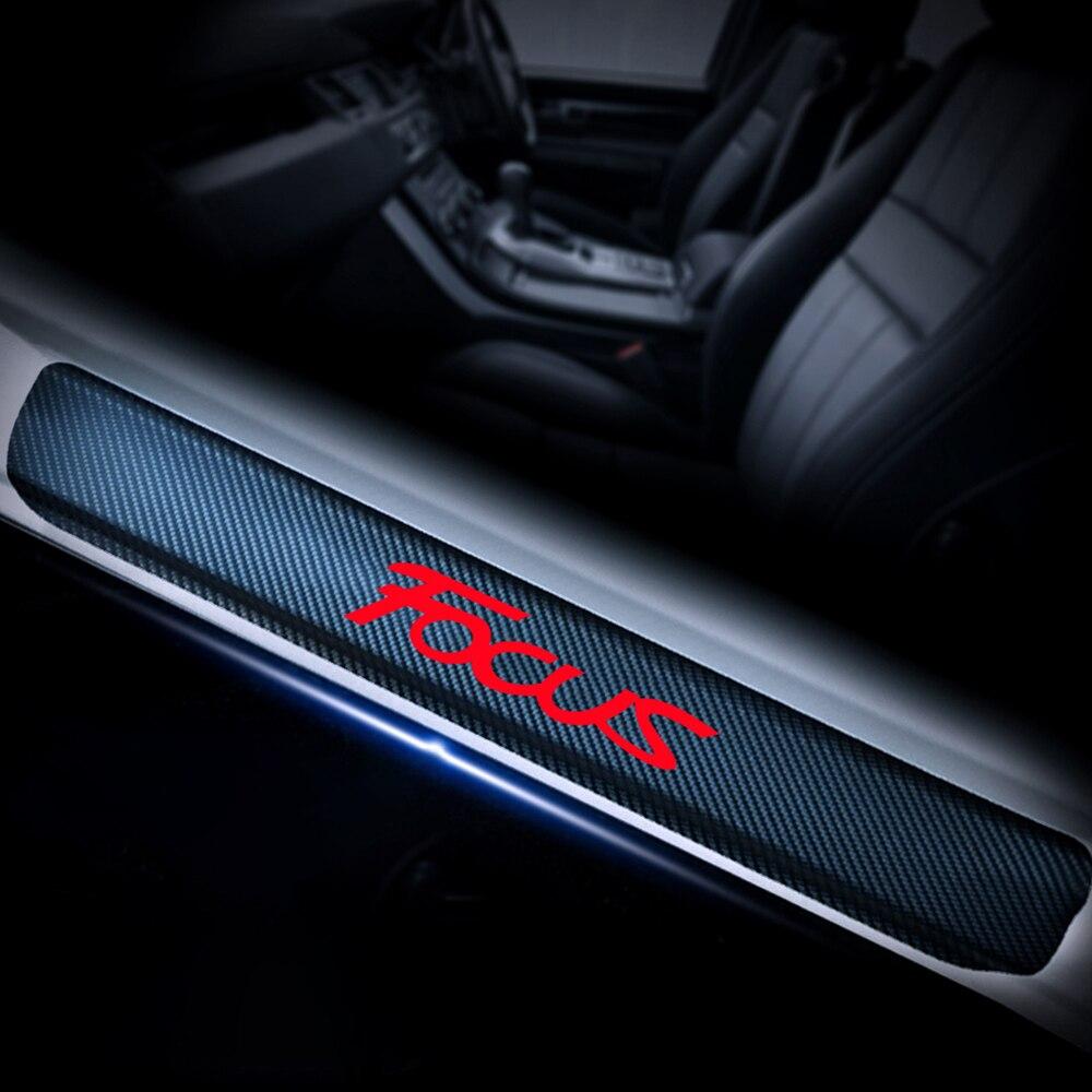 4D углеволоконная виниловая Стикеры порога протектор для Ford FOCUS машинная порога Добро пожаловать педаль Стикеры s авто аксессуары 4 шт.