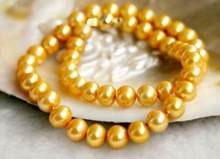 "Jewelry Pearl Necklace 925silver Yellow Gold HOT 18"" 9-10MM REAL AUSTRALIAN SOUTH SEA GOLDEN PEARL NECKLACE Free Shipping(China)"