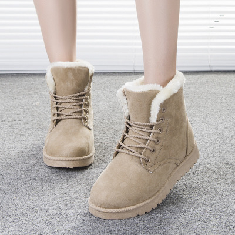 Fashion Winter Ankle Boots for Women 2020 Platform Snow Boots Plush Warm Walking Shoes Fur Comfortable Lace Up Botas De Mujer