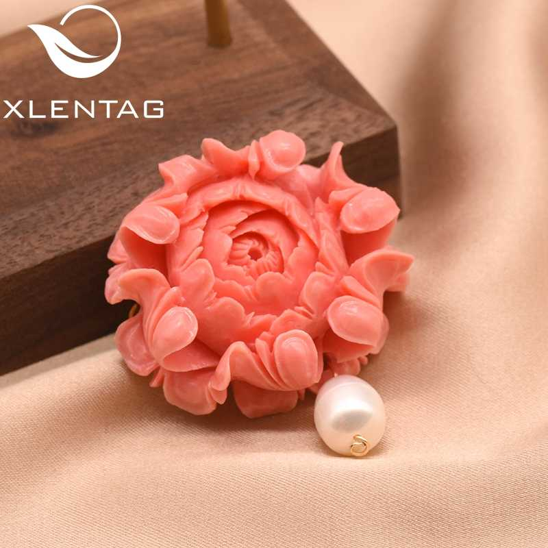 XlentAg Natural Fresh Water Pearl Big Coral Pollen Embossing For Women Girl Lovers' Wedding Handmade Fine Jewellery Gift GO0352A
